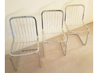 Set of 3 Rare 1960s Italian Designer Vintage Chrome Chairs Superb! Furniture / Kitchen / Living Room