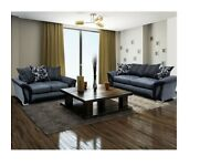 ORDER NOW-SHANNON CHENILLE FABRIC CORNER AND 3 AND 2 SEATER SOFA IN BLACK AND GREY