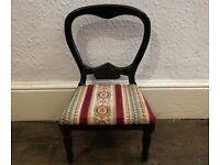 Vintage Wooden Upholstered Doll Display Chair Miniature Prop