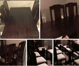 SOLID WOOD. TABLE AND 8 CHAIRS