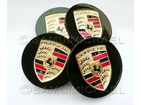 SET OF 4 x PORSCHE WHEEL CENTRE CAPS GLOSS BLACK WITH GOLD CREST 77mm BRAND NEW