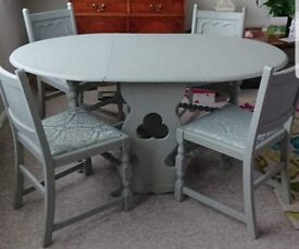 Shabby chic duck egg blue table and chairs