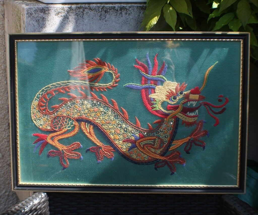 Oriental Chinese Embroidered Dragon Art in Frame | in Boston ...