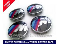 BMW M POWER WHEEL CENTRE CAPS 68MM BRAND NEW SET OF FOUR