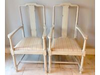 Pair of Annie Sloan 'Country Grey' Wooden Chairs