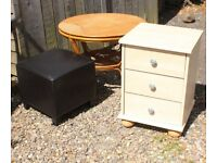 3 Furniture Items, Footstool, Cane Table and Bedside Cabinet Drawers