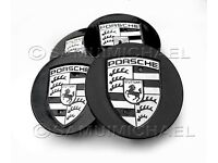 4 x PORSCHE WHEEL CENTRE CAPS GLOSS BLACK WITH SILVER CREST 77mm BRAND NEW