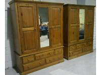 As new 2 x 3 door. 5 draw solid pine wardrobes can deliver 07808222995