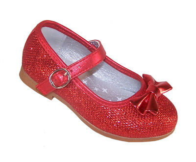 Infant Girls Children Red Sparkly Dorothy Shoes Ballerina Party Dressing Up New - Kids Red Dorothy Shoes