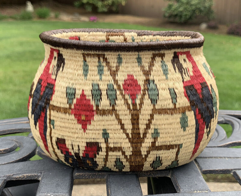 Beautiful Wounaan Embera Panama Hand Woven Parrot Butterfly Basket