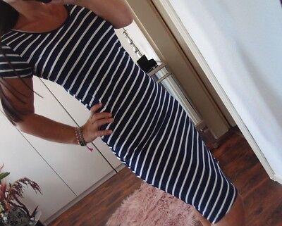 Kleid S M Neu Trend Sommer Blau Weiß Viskose Long Tunika Hippie Streifen Blogger