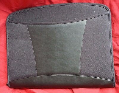 Black Cloth Leather Executive College Zipper University Portfolio Folder Dart