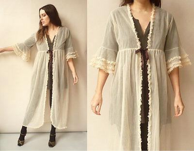 70's Vintage Sheer Nylon Angel Sleeve Babydoll Negligee Housecoat Dressing Gown