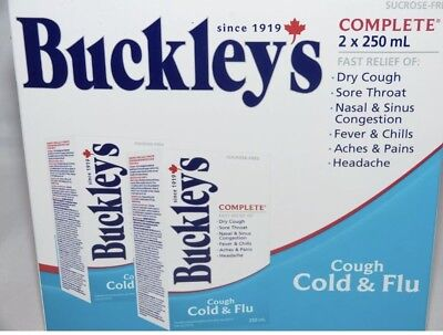 BUCKLEY'S COMPLETE COUGH COLD & FLU SYRUP 2 bottles 250mL NEW