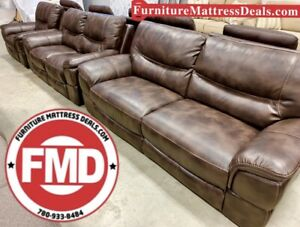 GUC brown leather couch sofa, love seat and power USB recliner