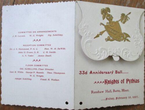 Butte, MT 1897 Knights of Pythias Dance Card/Program: Anniversary Ball - Montana