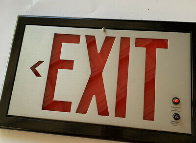 Red Metal Exit Sign With Test Button Charging Indicator Light Wall Mount