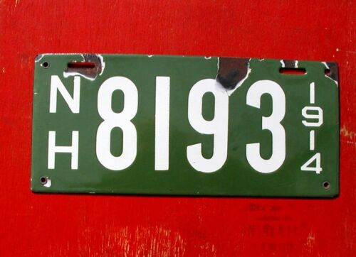 1914 New Hampshire Original Porcelain 8193 License Plate