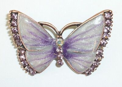 High Quality Purple Crystal Pearlized Butterfly Brooch Pin /Gift