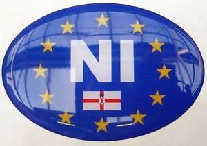 Euro NI NORTHERN IRELAND Legal Oval Resin Domed Sticker 3D Car Caravan Badge