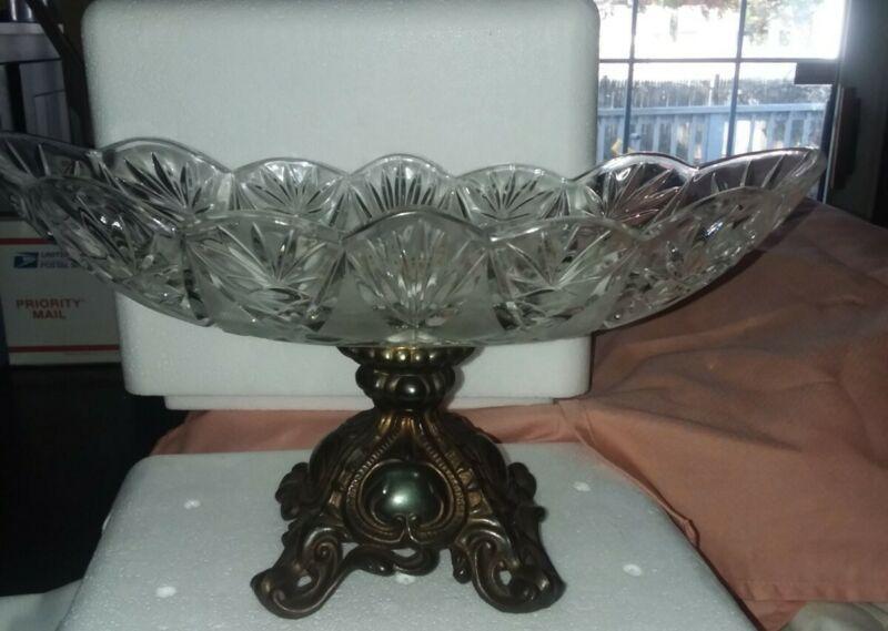 Vintage Hollywood Regency Rococo Oval Crystal Bowl W/ Brass Pedestal