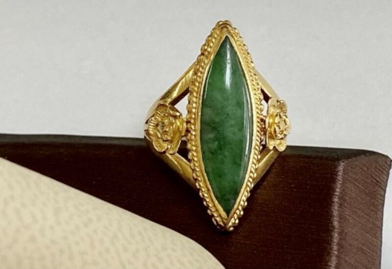 Beautiful Vintage 22K Yellow Gold And Chinese Natural Imperial Jadeite Jade Ring