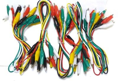 Lot 50 Alligator Testing Wires Lead Set Color Booted Probe Clips By Steren
