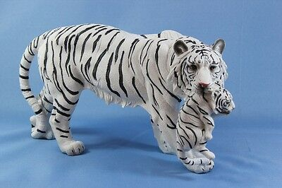 New White Bengal Tiger Statue Mother Mama w Cub Cat Statue Figurine Sculpture