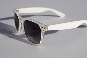 Clear-White-frame-Sunglasses-with-gradient-lens-80s-Retro-Vintage