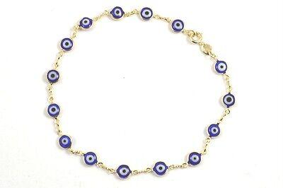 - Evil Eye Ankle Bracelet Dark Blue Approx 9 3/4 inch long Gold Filled Anklet # 54