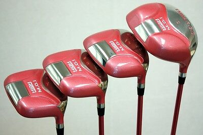 Ladies Pink Golf Clubs Driver 1 3 5 7 Metal Womens Wood Set Lady Flex Grips