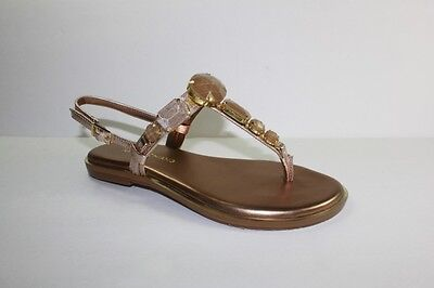 Arturo Chiang Women Size 8.5 Capri Gold Jeweled Leather Thong Flats Sandals Shoe