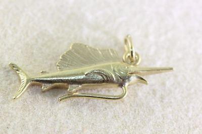 - VINTAGE 14K GOLD 3D SWORD FISH MARLIN CHARM SOLID