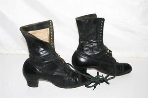 Vtg-Leather-Boots-WOMENS-antique-victorian-lace-up-edwardian-shoes-high-top-lady