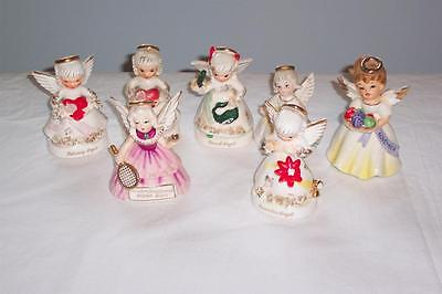 Vintage 1950's Lot of 7 Month Angel Figurines~Napco~Lefton~All have Defects