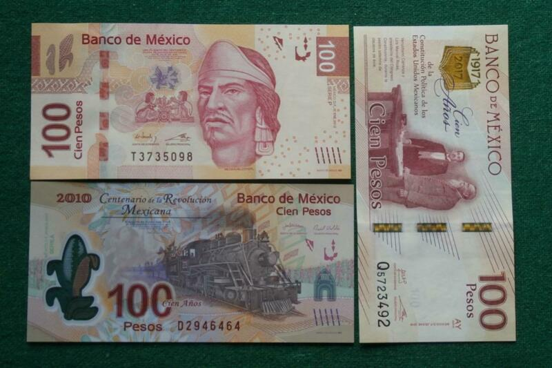 Lot of 3 different types 100 Pesos Bills Currency Current Mexico