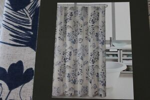 HILLCREST LARGE FLORAL FABRIC SHOWER CURTAIN ROYAL BLUE NAVY BLUE BROWN