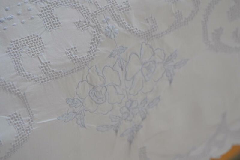 "Elegant Antiq Italian Punchwork Blue H Embroider Percale Cotton Sheet 86"" x 90"""