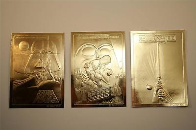 Set of 3 STAR WARS MOVIES POSTERS 23KT Gold Cards EMPIRE / JEDI / ORIGINAL