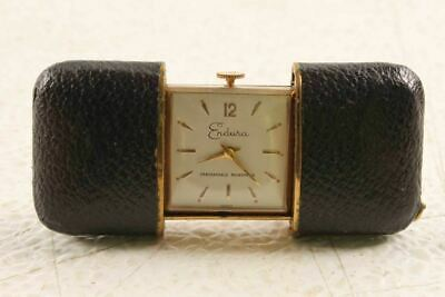 Rare Vintage Endura French Leather Case Travel Chain Pocket Watch