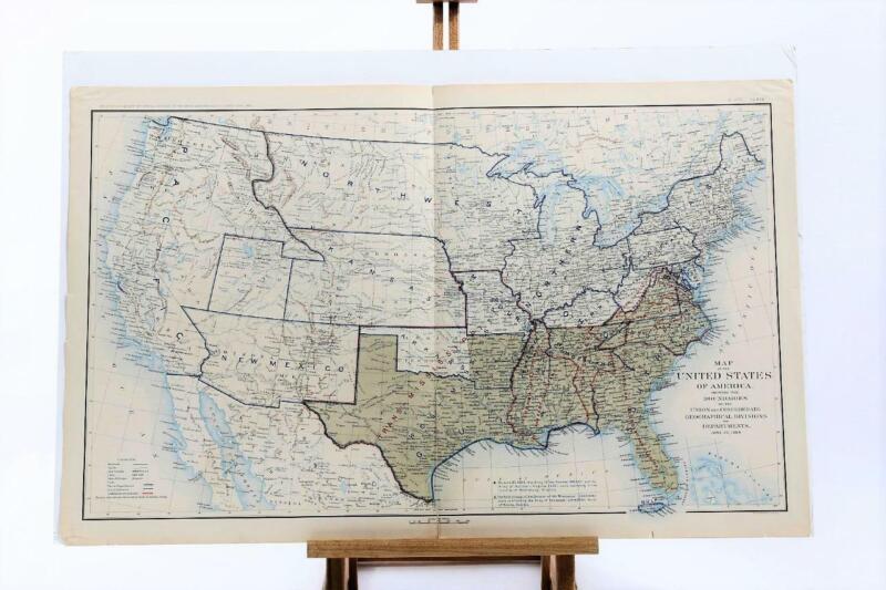 Antique Atlas Map CLXIX USA Boundaries Union & Confederate States Civil War 1864