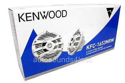 """Kenwood KFC-1653MRW 150 Watts 6-1/2"""" 2-Way Marine Boat Audio White Speakers 6.5"""""""