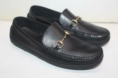 Vintage Gucci Men's Black Leather Horsebit Loafers Shoes Size 10 = 10.5 US