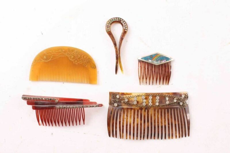 5 Vintage Ladies Hair Combs Faux Tortoise Celluloid Stones Mother Of Pearl