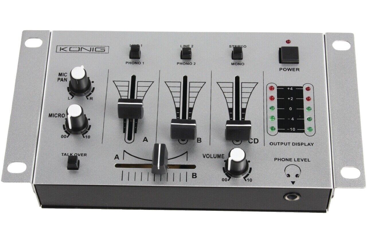 3 Kanal Mischpult - DJ Mixer mit 2 Mikrofoneingängen und Phono / Line