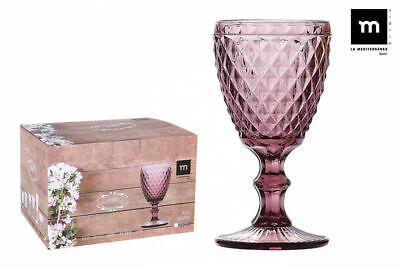 6X SIDARI PINK Vintage RED WINE GLASSES 250ml beautiful gift box