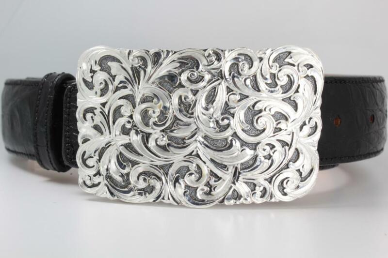Handmade Sterling Silver (.925) Cowboy Trophy Belt Buckle (Made in Texas)