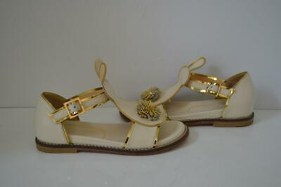 Charlotte Girls Olympia Ivory/Gold Leather Pat the Bunny Sandals/Shoes Size 31