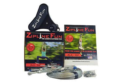 ZLX ZIPLINE FUN EXTREME Ride Zip Line Adult Fun 90' Playground Playset 30-X90