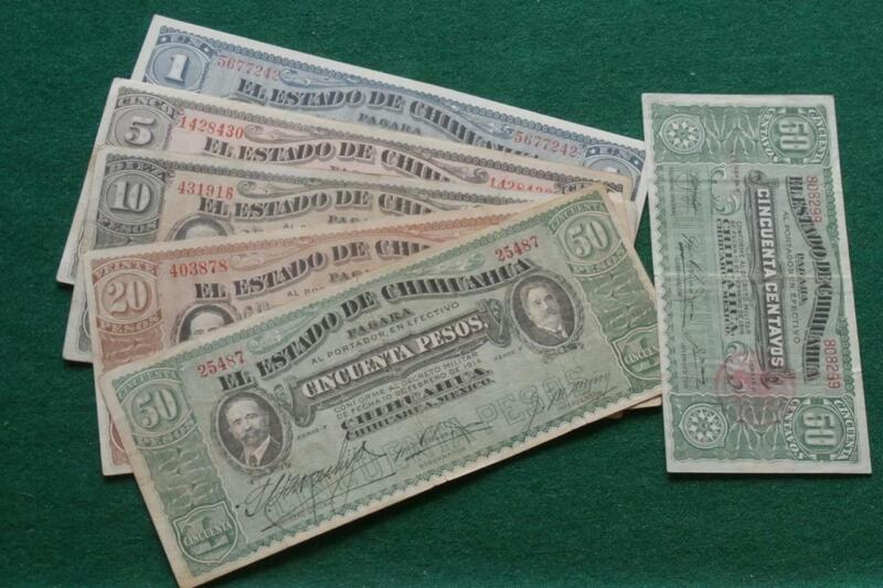 1914 6 Notes Mexico Estado Chihuahua .50 1,5, 10 20 & 50 Pesos Revolution XF-AU
